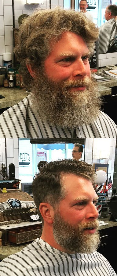 before and after beard trimming and hair cut styling by gents barbershop