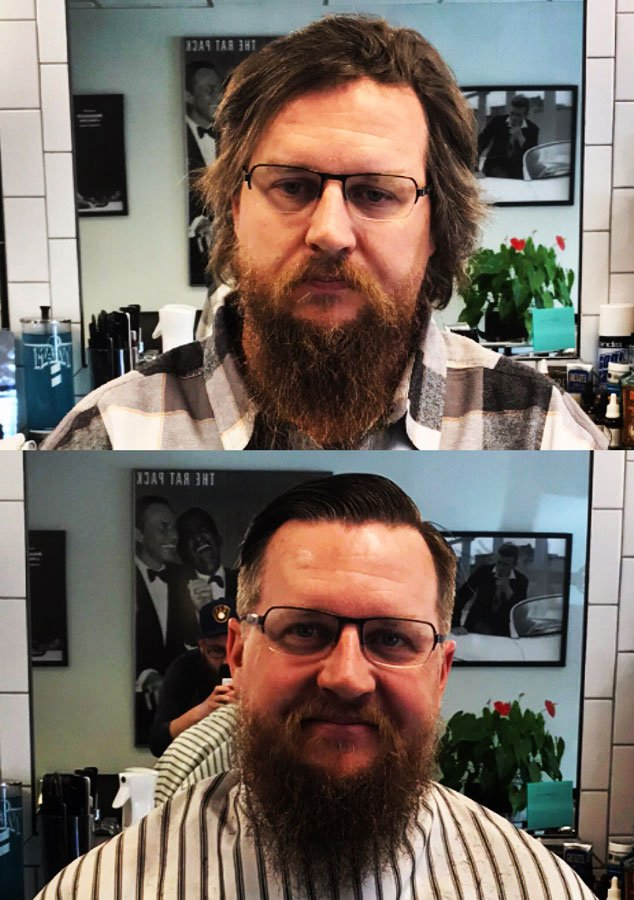 before and after cut long hair and shave beards in menomonee falls