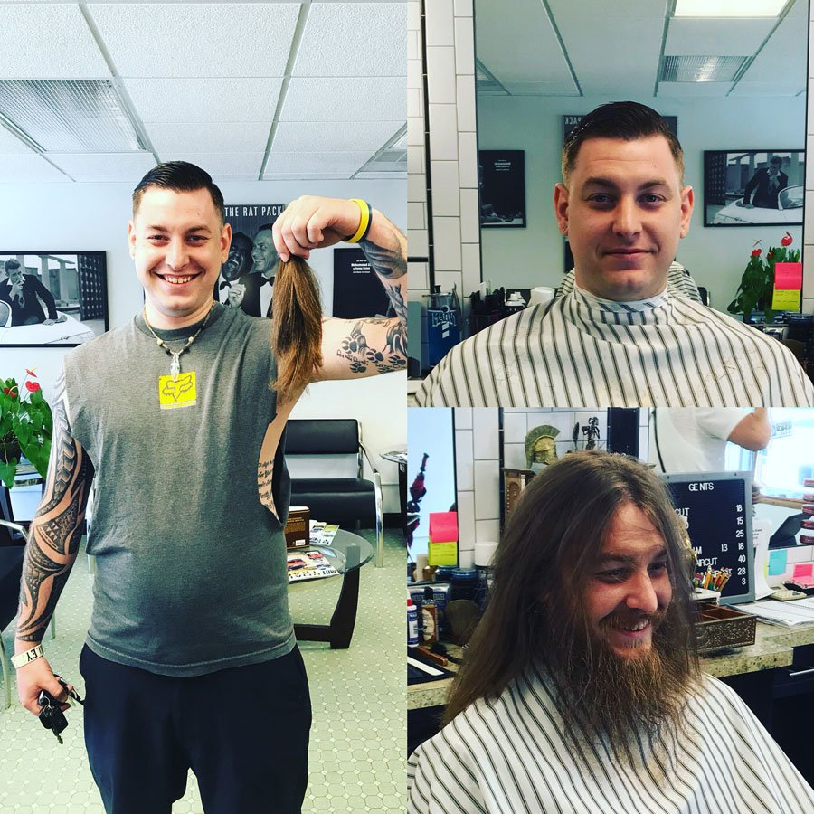 before and after cut long hair barbershop with happy customers