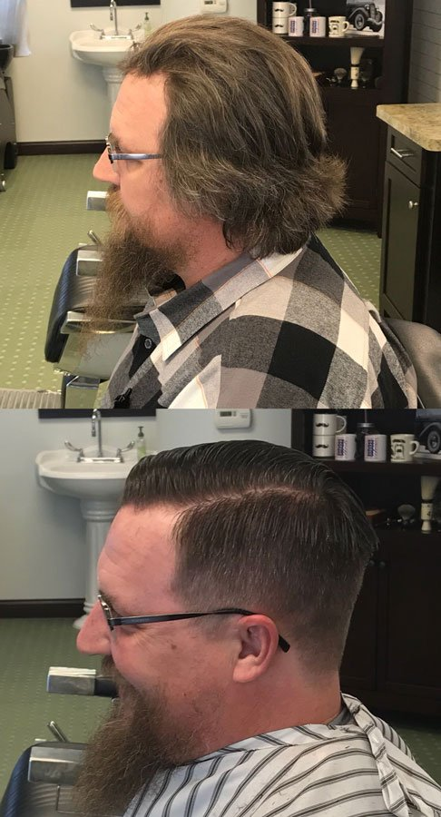 before and after of man in need of haircut and shave