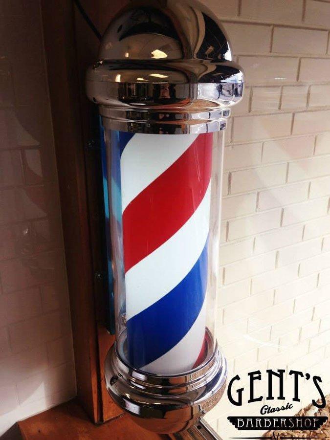 classic barbershop clean barber pole at gents in menomonee falls
