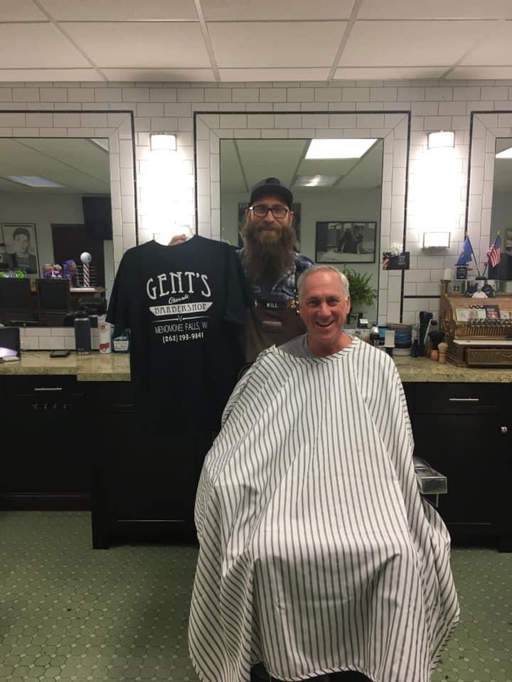 gents happy customer haircut with logo tshirt