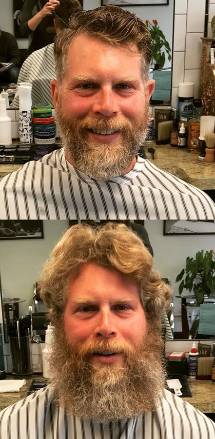 happy haircut customer before and after hair style with beard trim and shave