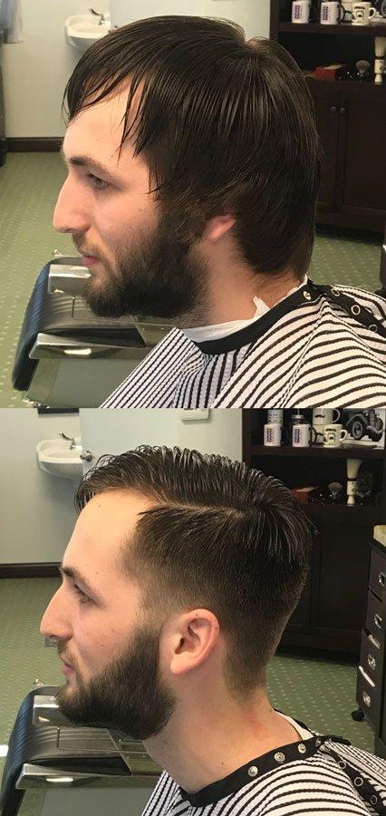 man with long hair a beard gets clean style haircut and beard trim