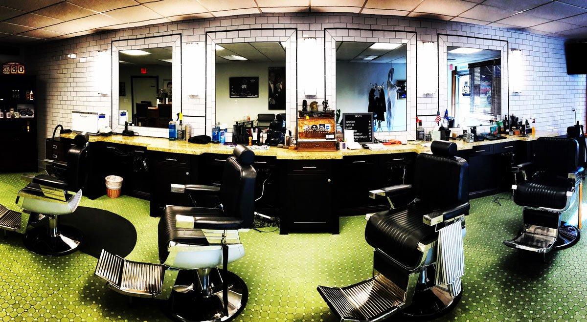 panoramic view of the barber chairs inside gents classic barbershop in menomonee falls