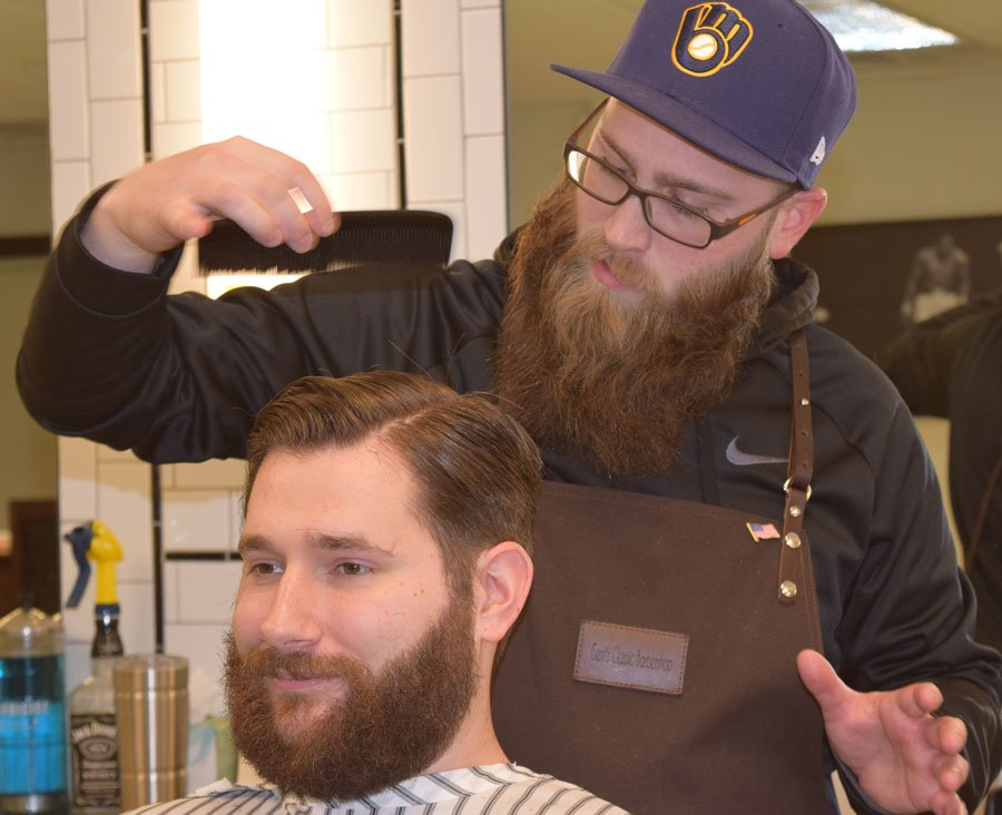 will combing and styling after haircut and beard cleanup